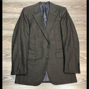 Hickey Freeman Brown Flannel Blazer 38L Long